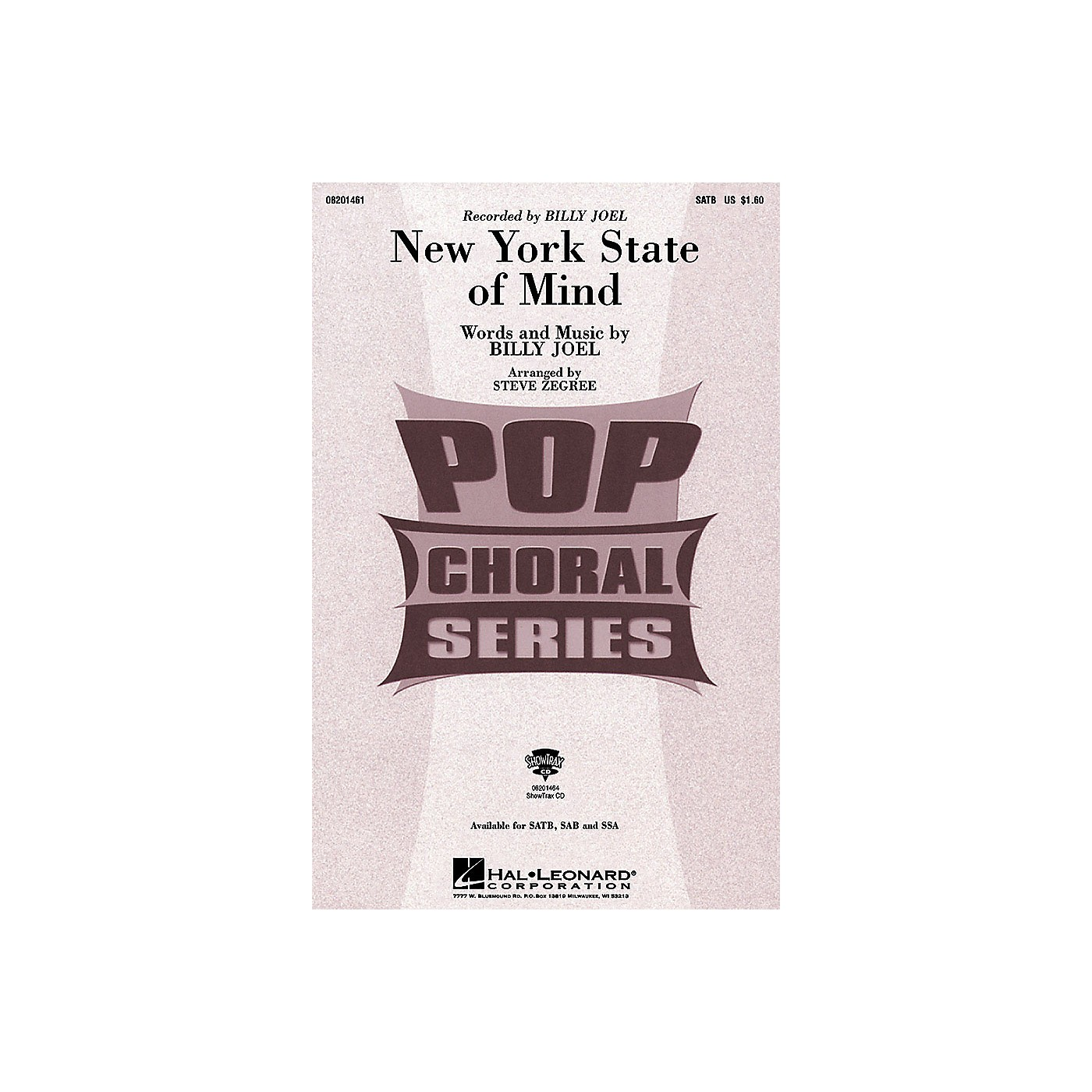 Hal Leonard New York State of Mind (ShowTrax CD) ShowTrax CD by Billy Joel Arranged by Steve Zegree thumbnail
