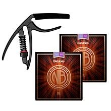 D'Addario Nickel Bronze Custom Light Acoustic Strings (2 sets) with Reflex Capo