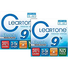 Cleartone Nickel-Plated Super-Light Gauge Treated Electric Guitar Strings (2-Pack)