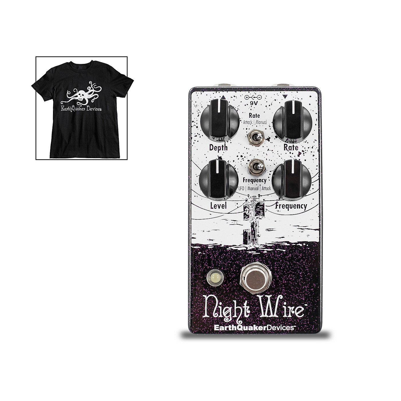 Earthquaker Devices Night Wire V2 Harmonic Tremolo Effects Pedal and Octoskull T-Shirt Large Black thumbnail