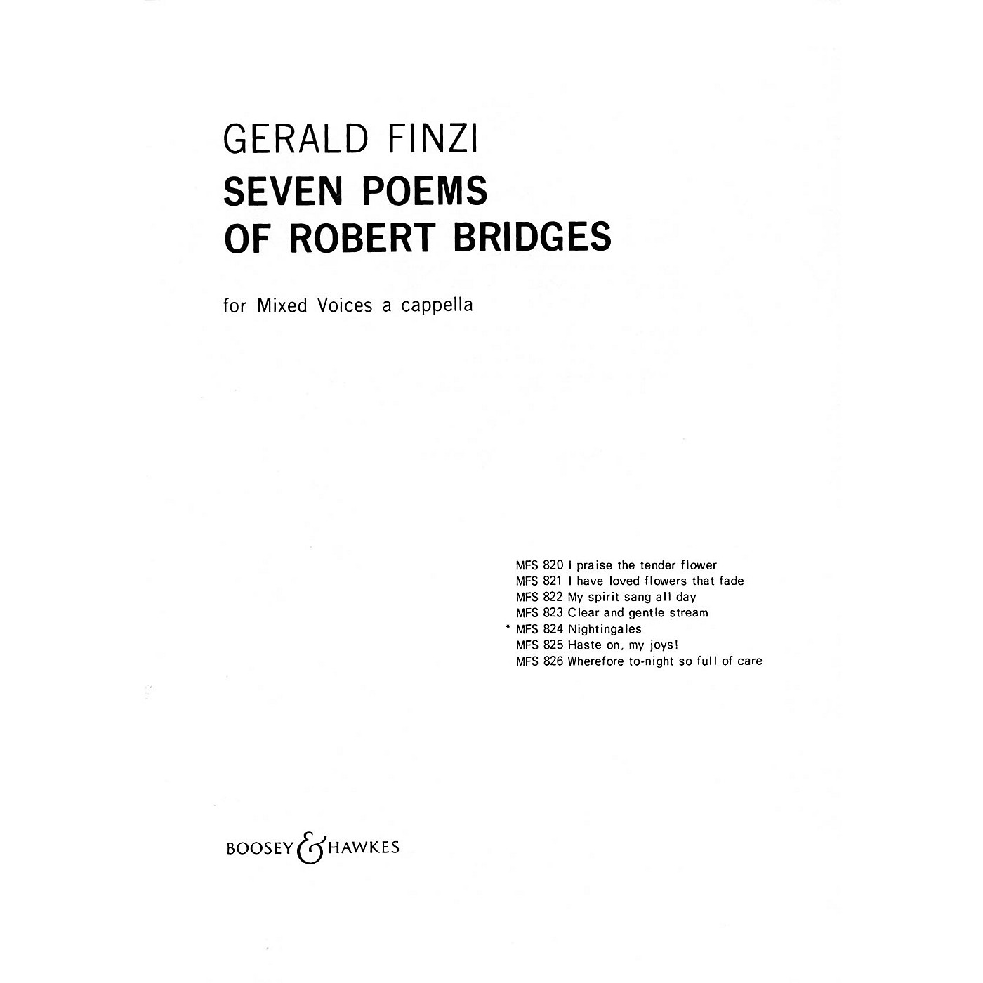 Boosey and Hawkes Nightingales (No. 5 from Seven Poems of Robert Bridges) SSATB A Cappella composed by Gerald Finzi thumbnail