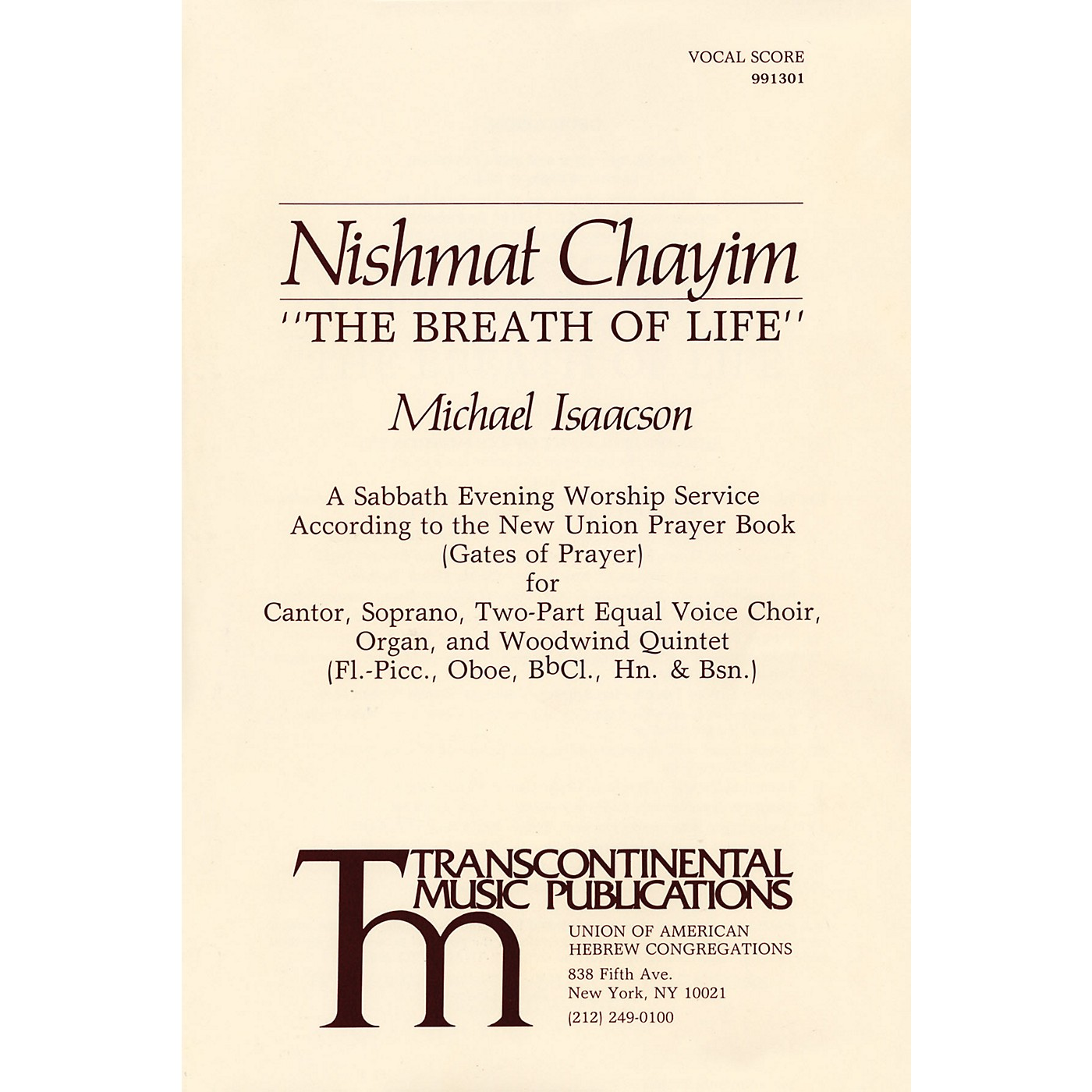 Transcontinental Music Nishmat Chayim (The Breath of Life) 2-Part Score thumbnail
