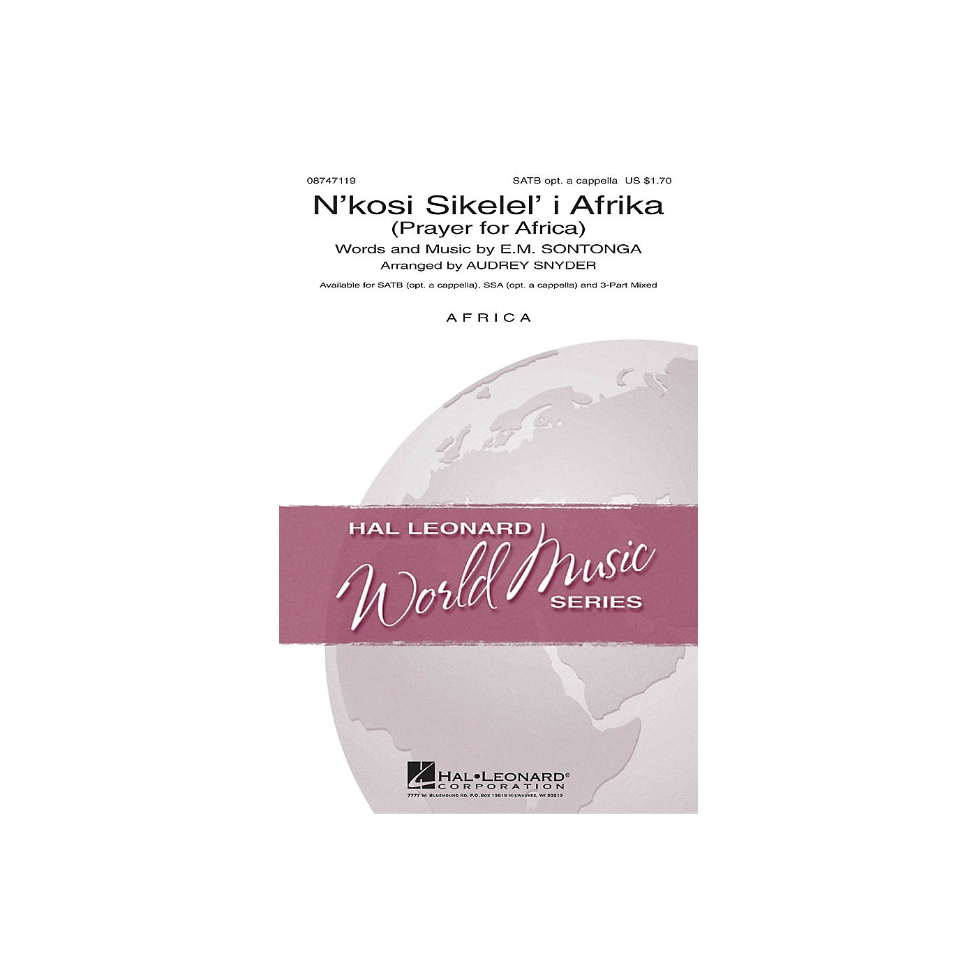 Hal Leonard N'kosi Sikelel' I Afrika (Prayer for Africa) 3-Part Mixed Arranged by Audrey Snyder thumbnail