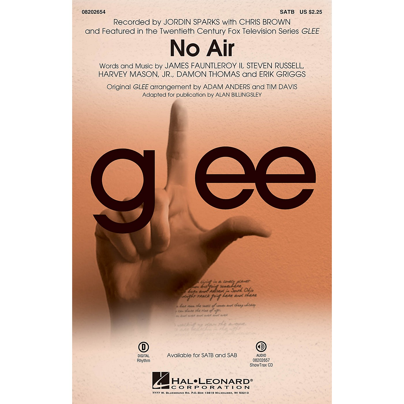Hal Leonard No Air (from Glee) ShowTrax CD by Chris Brown Arranged by Adam Anders thumbnail