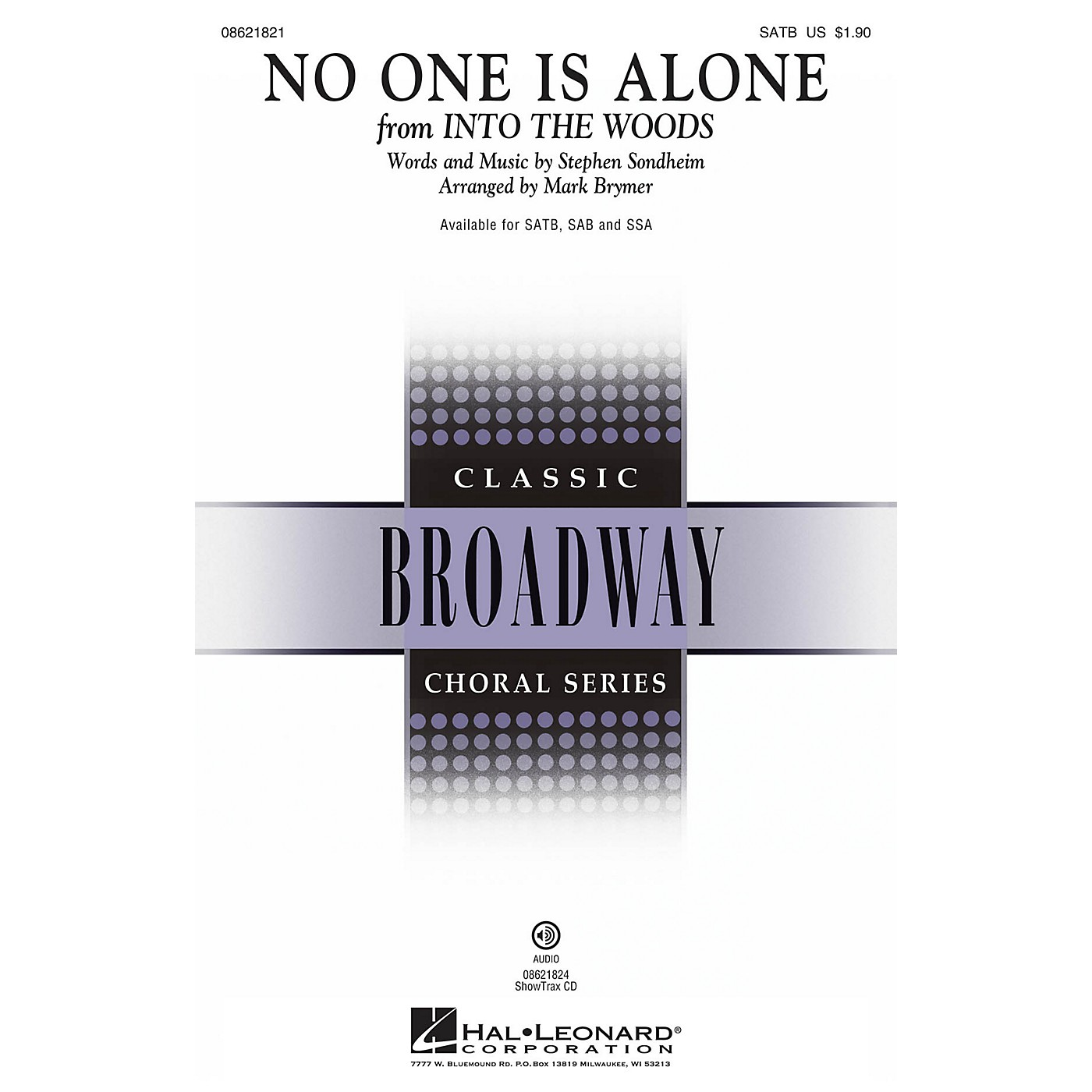 Hal Leonard No One Is Alone (from Into the Woods) SATB arranged by Mark Brymer thumbnail