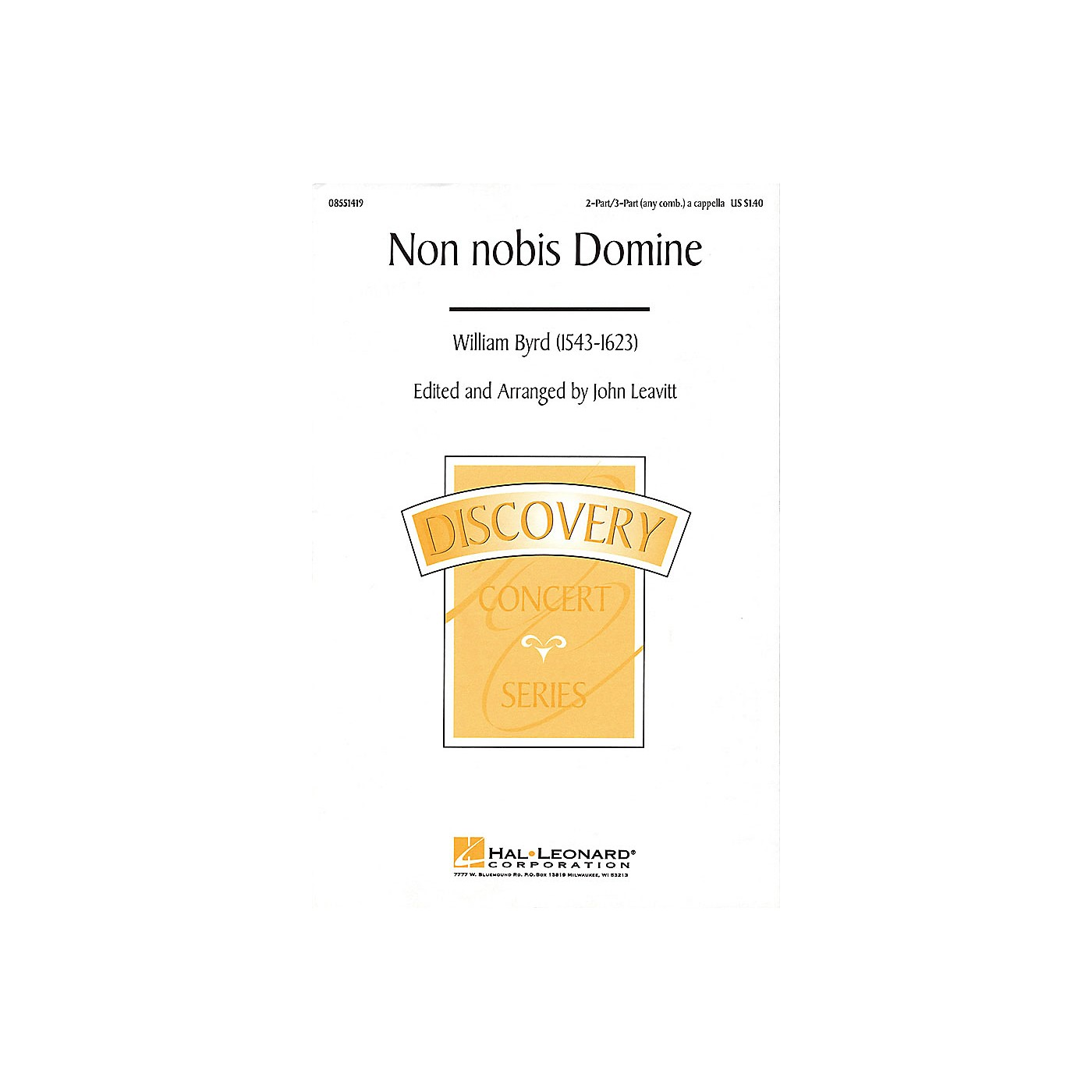 Hal Leonard Non Nobis Domine (2-Part/3-Part a cappella) 2 Part / 3 Part A Cappella arranged by John Leavitt thumbnail
