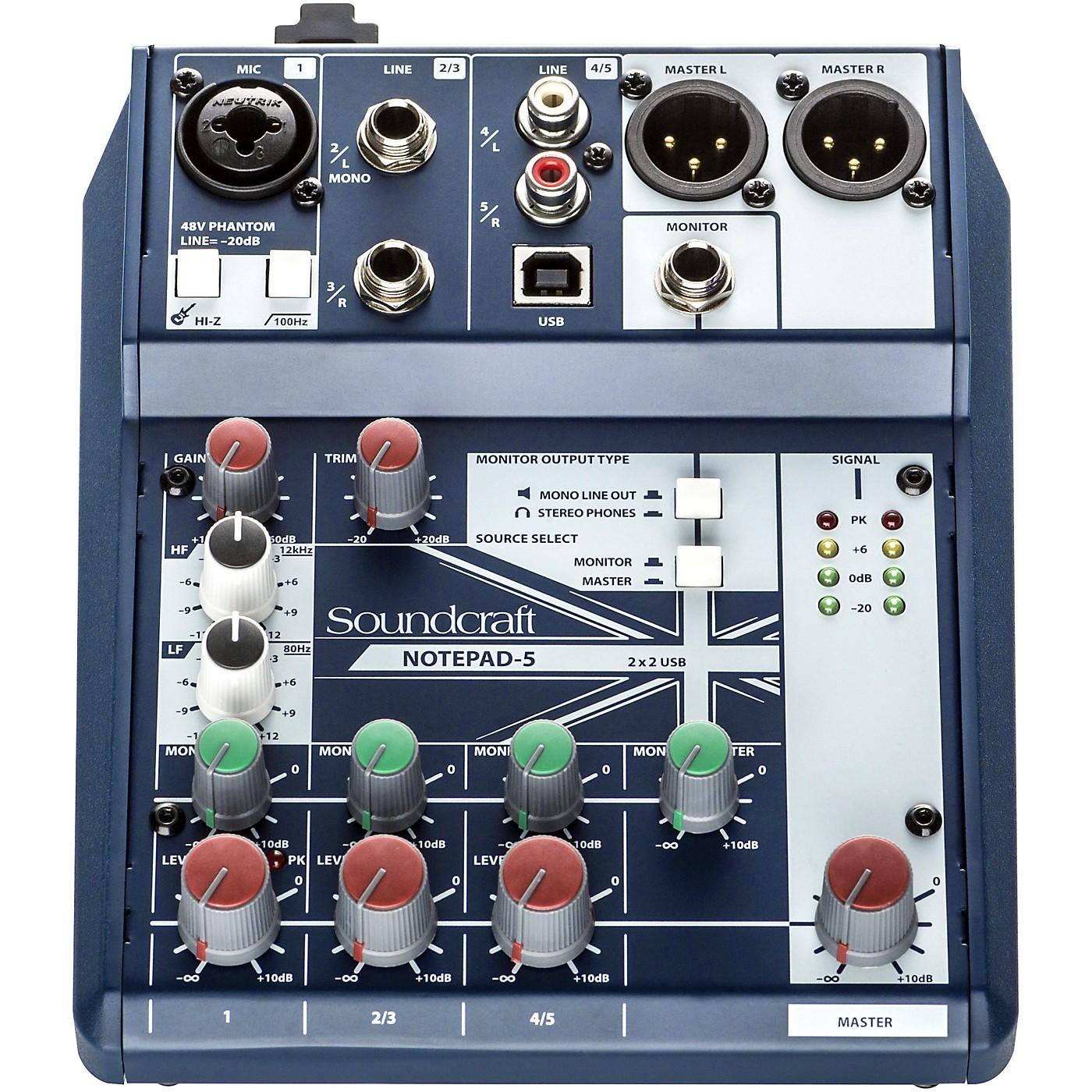 Soundcraft Notepad-5  Small Format Analog Mixing Console w/ USB I/O thumbnail