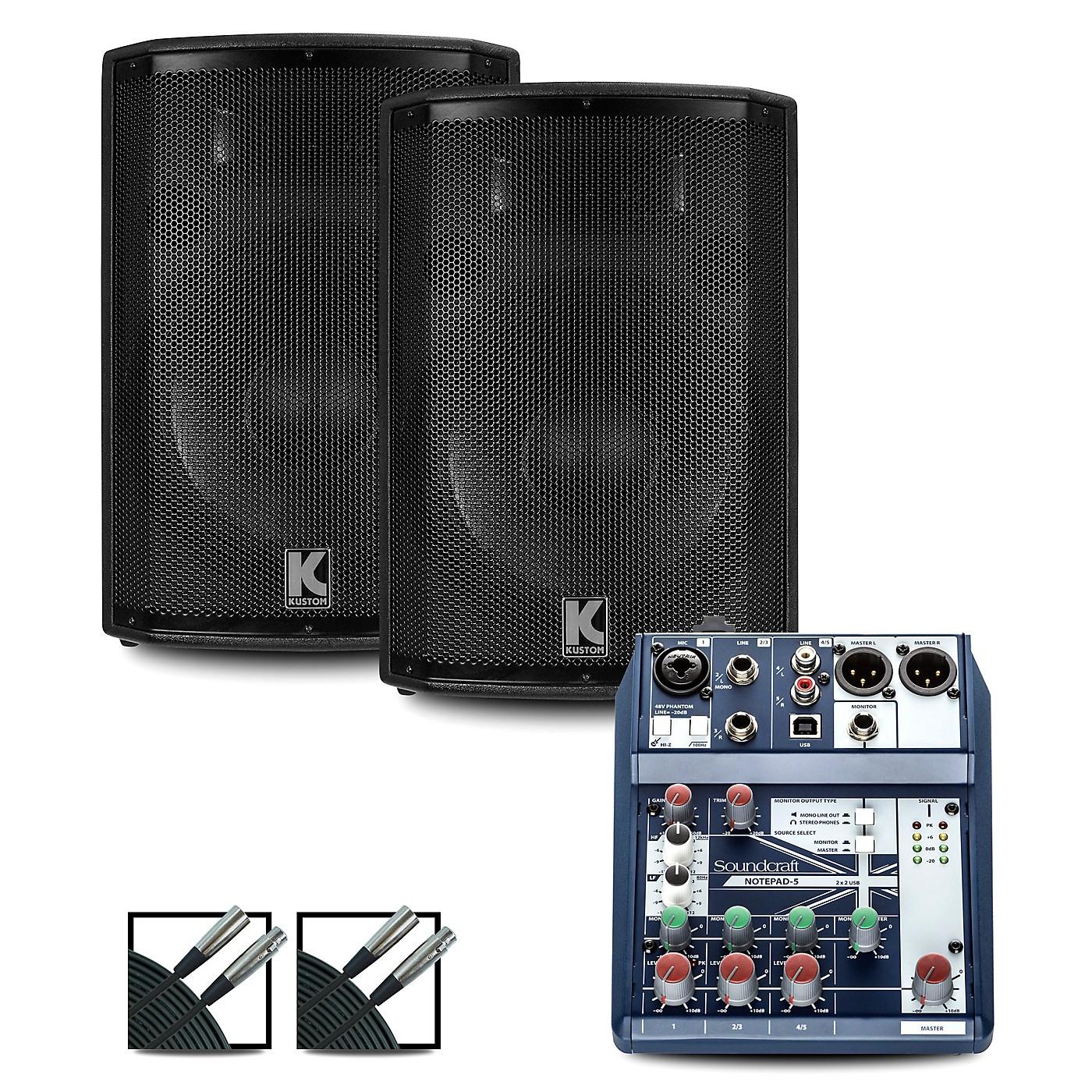 Soundcraft Notepad12FX Mixer and Kustom HiPAC Speakers thumbnail