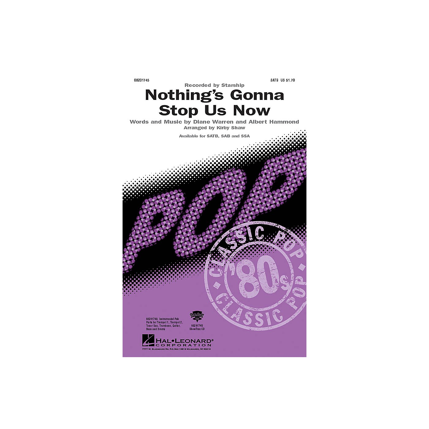 Hal Leonard Nothing's Gonna Stop Us Now Combo Parts by Starship Arranged by Kirby Shaw thumbnail