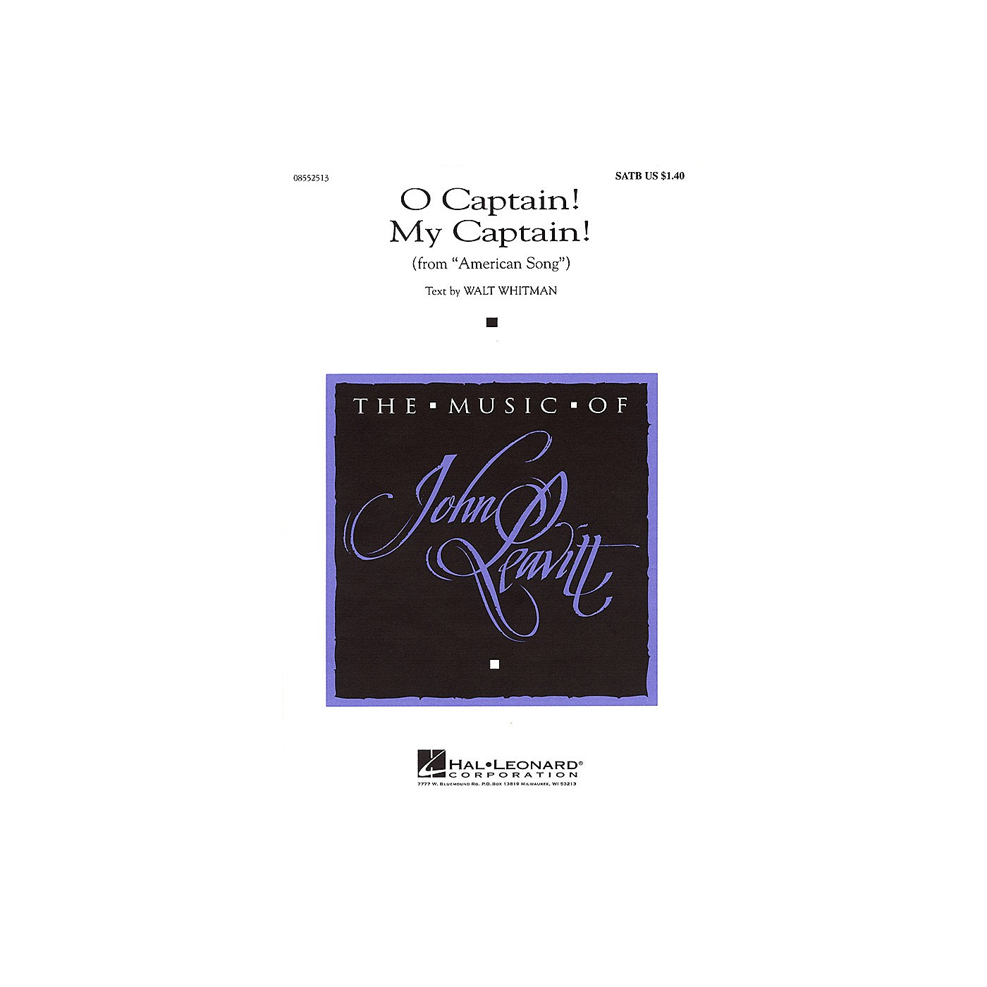 Hal Leonard O Captain! My Captain! (from American Song) SATB composed by Walt Whitman thumbnail