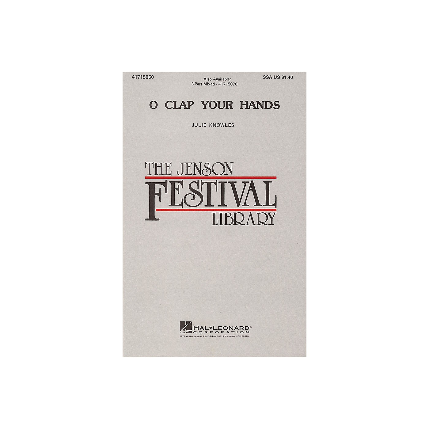 Hal Leonard O Clap Your Hands 3-Part Mixed a cappella Composed by Julie Knowles thumbnail
