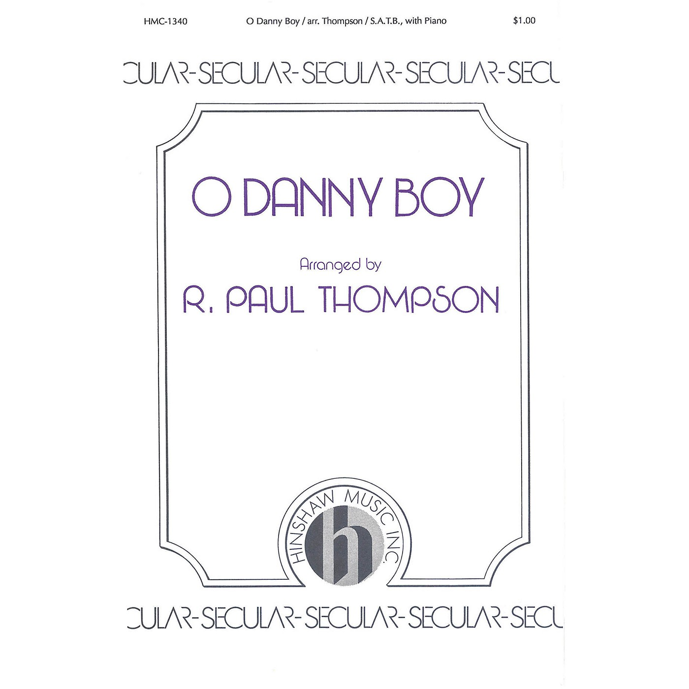 Hinshaw Music O Danny Boy SATB arranged by Thompson thumbnail