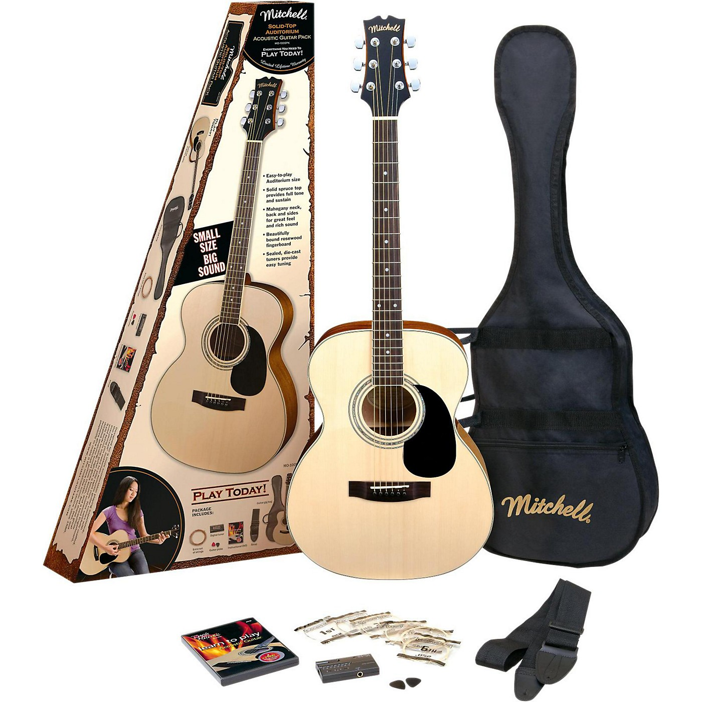 Mitchell O120SPK Acoustic Guitar Value Package thumbnail