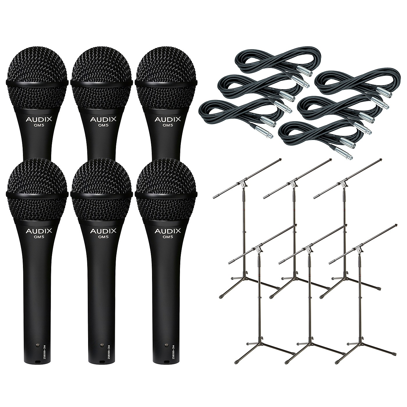 Audix OM-5 Mic with Cable and Stand 6 Pack thumbnail