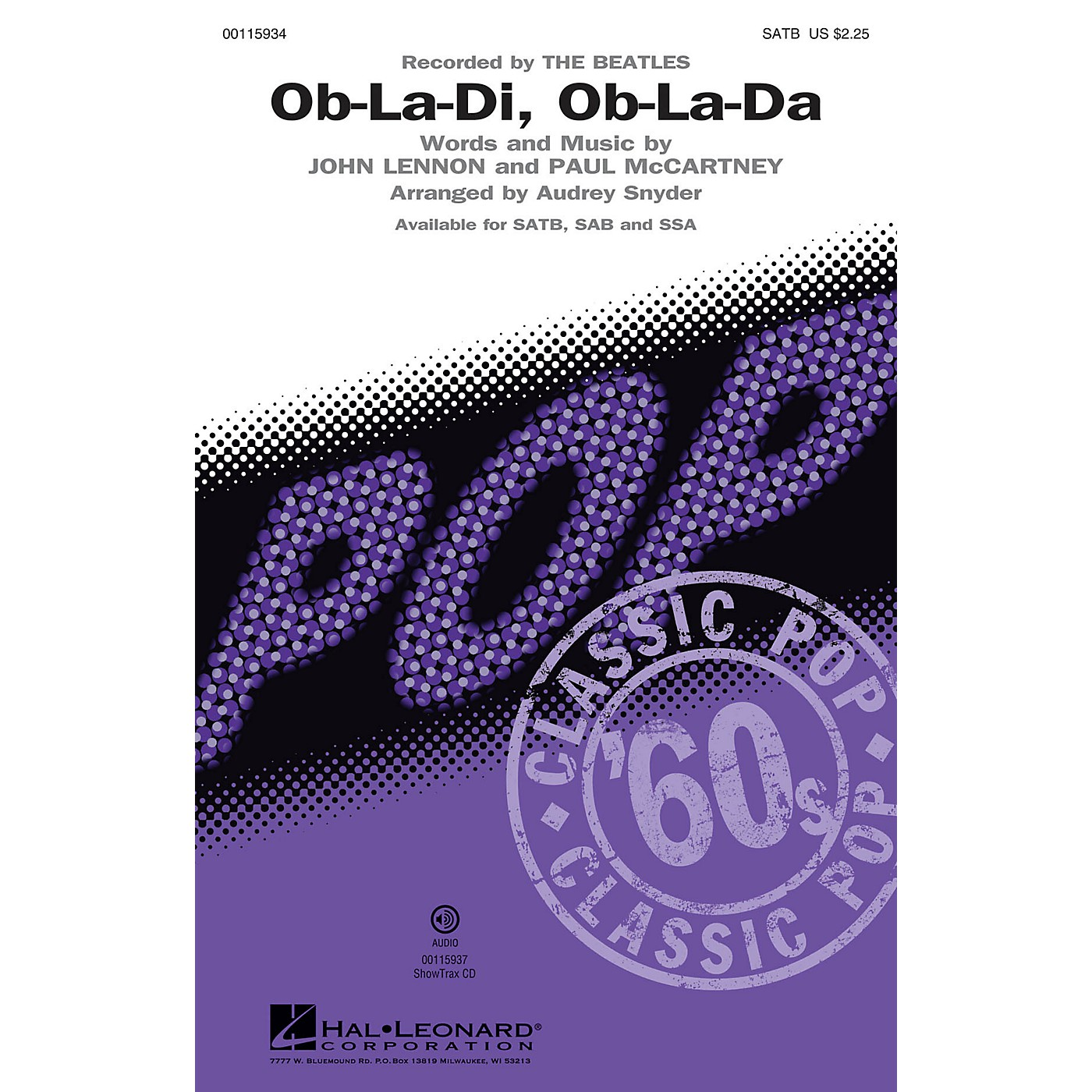 Hal Leonard Ob-La-Di, Ob-La-Da (Recorded by THE BEATLES SAB) SAB by The Beatles Arranged by Audrey Snyder thumbnail