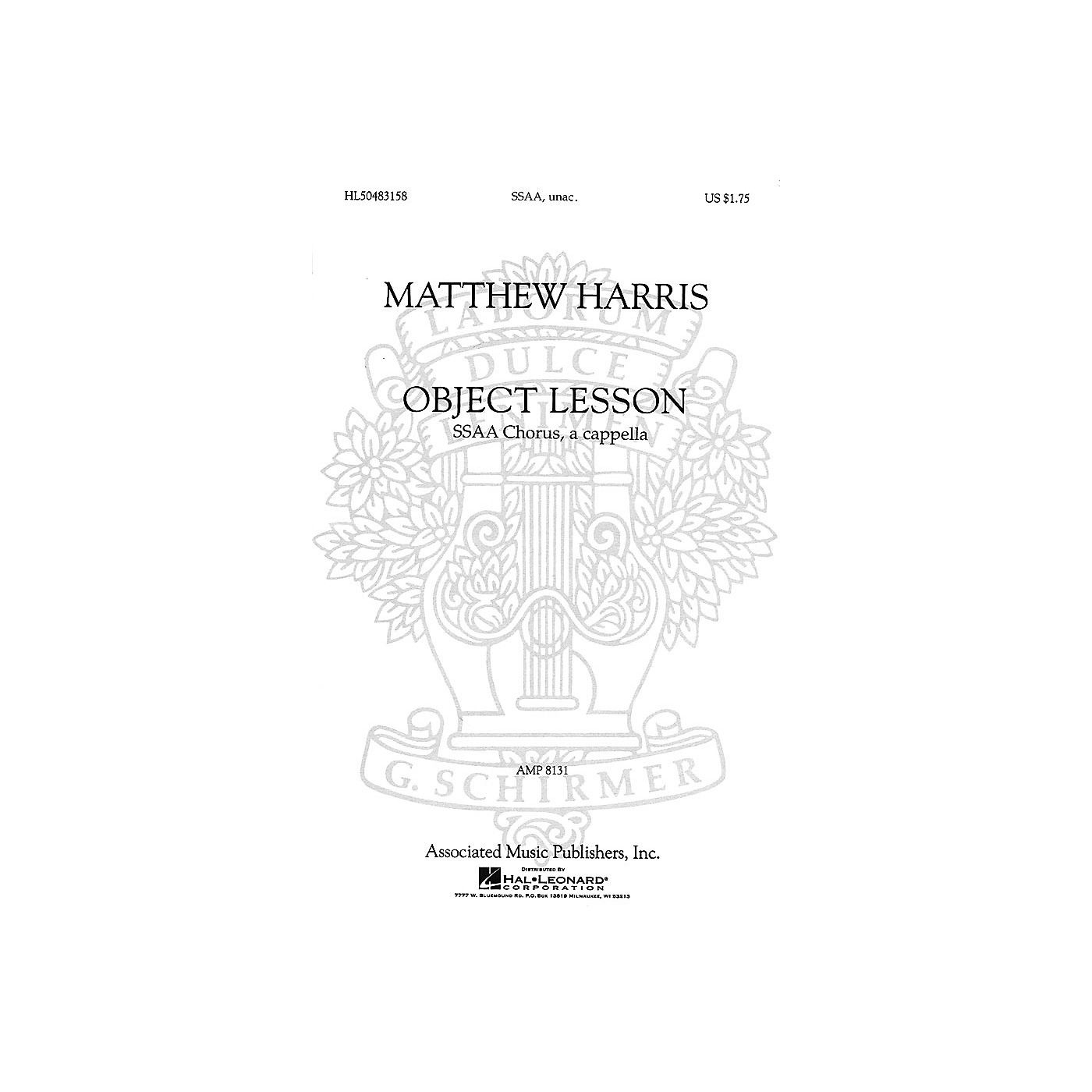 Associated Object Lesson (SSAA a cappella) SSAA A Cappella composed by Matthew Harris thumbnail