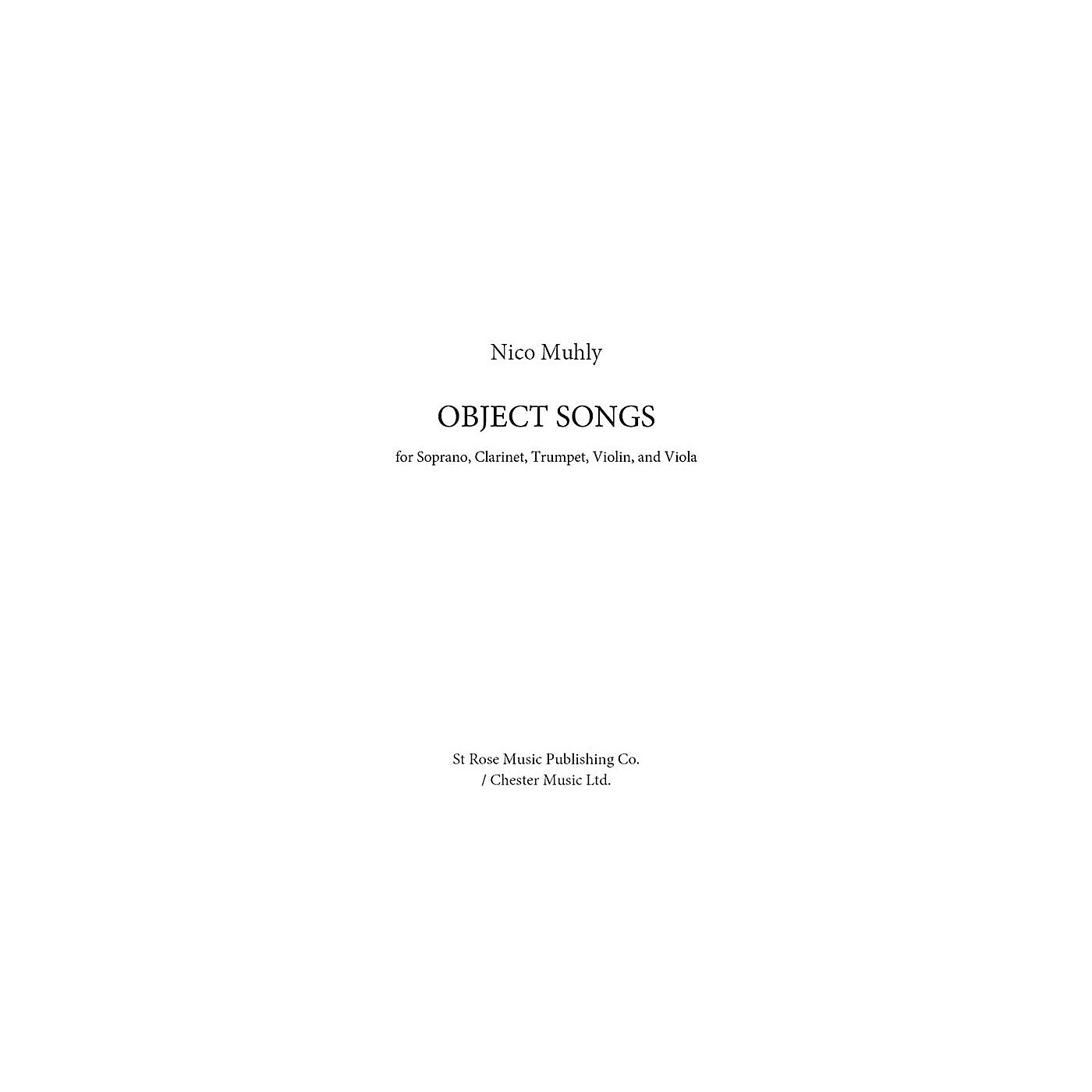 St. Rose Music Publishing Co. Object Songs Music Sales America Series Softcover by Nico Muhly thumbnail
