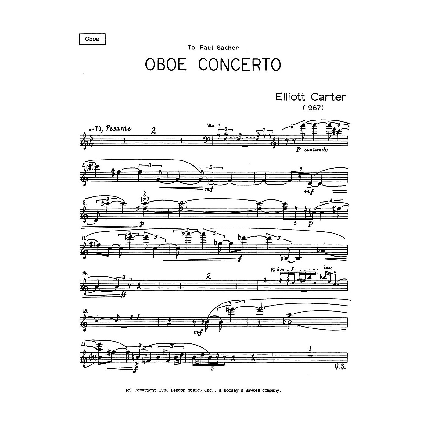 Boosey and Hawkes Oboe Conc (Solo Part Only) Boosey & Hawkes Chamber Music Series by Elliott Carter thumbnail