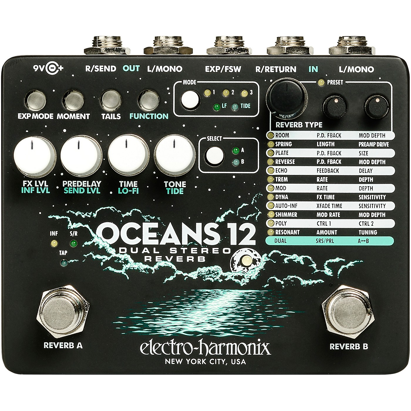 Electro-Harmonix Oceans 12 Dual-Stereo Reverb Effects Pedal thumbnail
