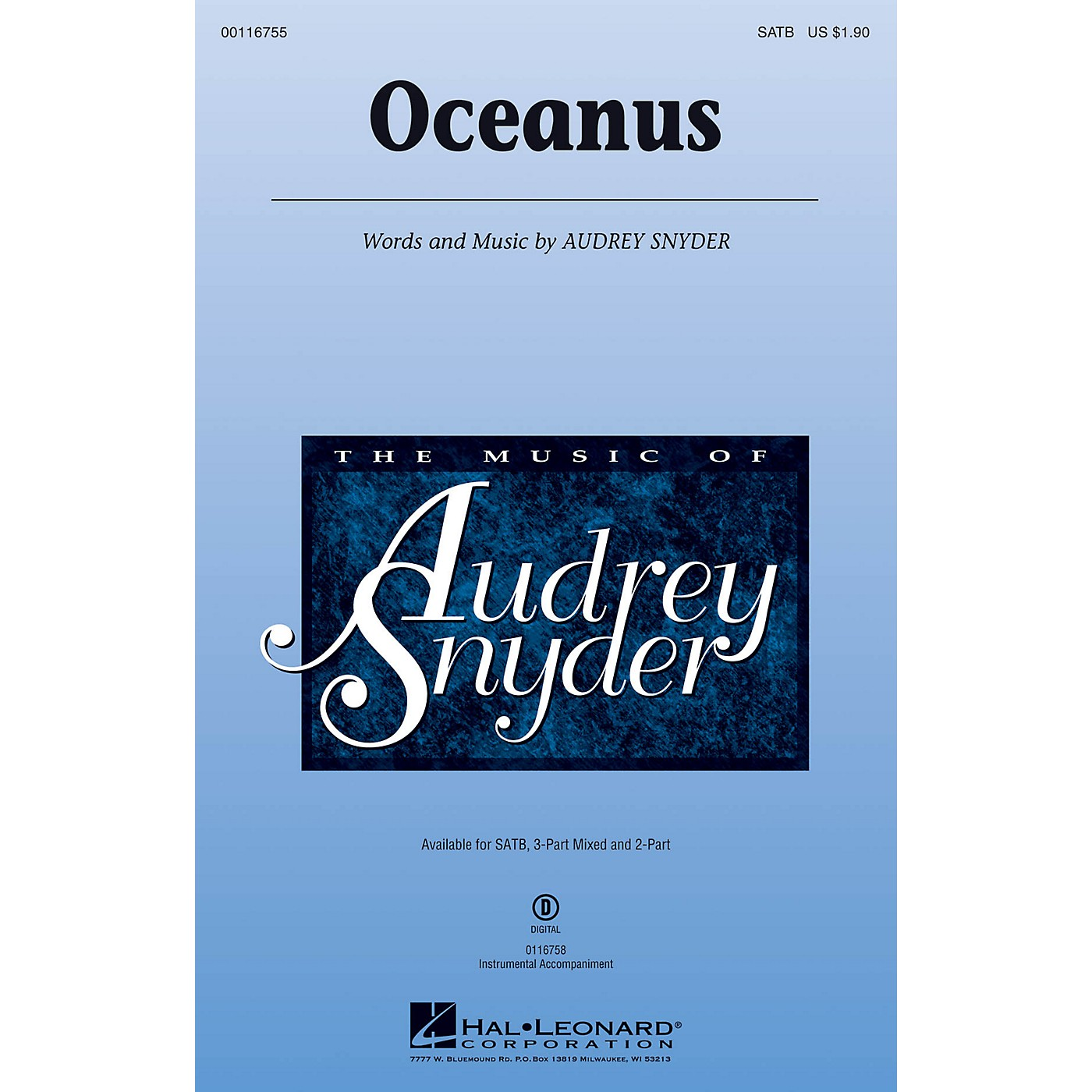 Hal Leonard Oceanus SATB composed by Audrey Snyder thumbnail