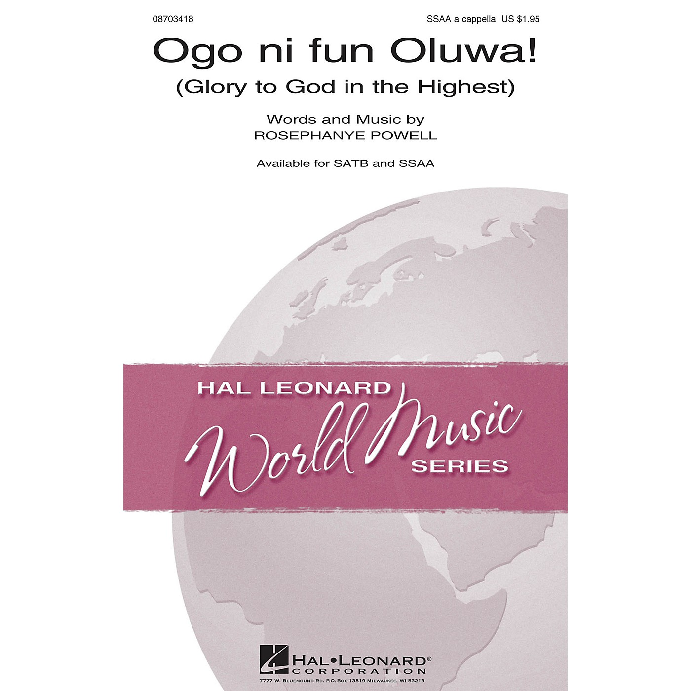Hal Leonard Ogo Ni Fun Oluwa (Glory to God in the Highest) SSAA A Cappella arranged by William Powell thumbnail