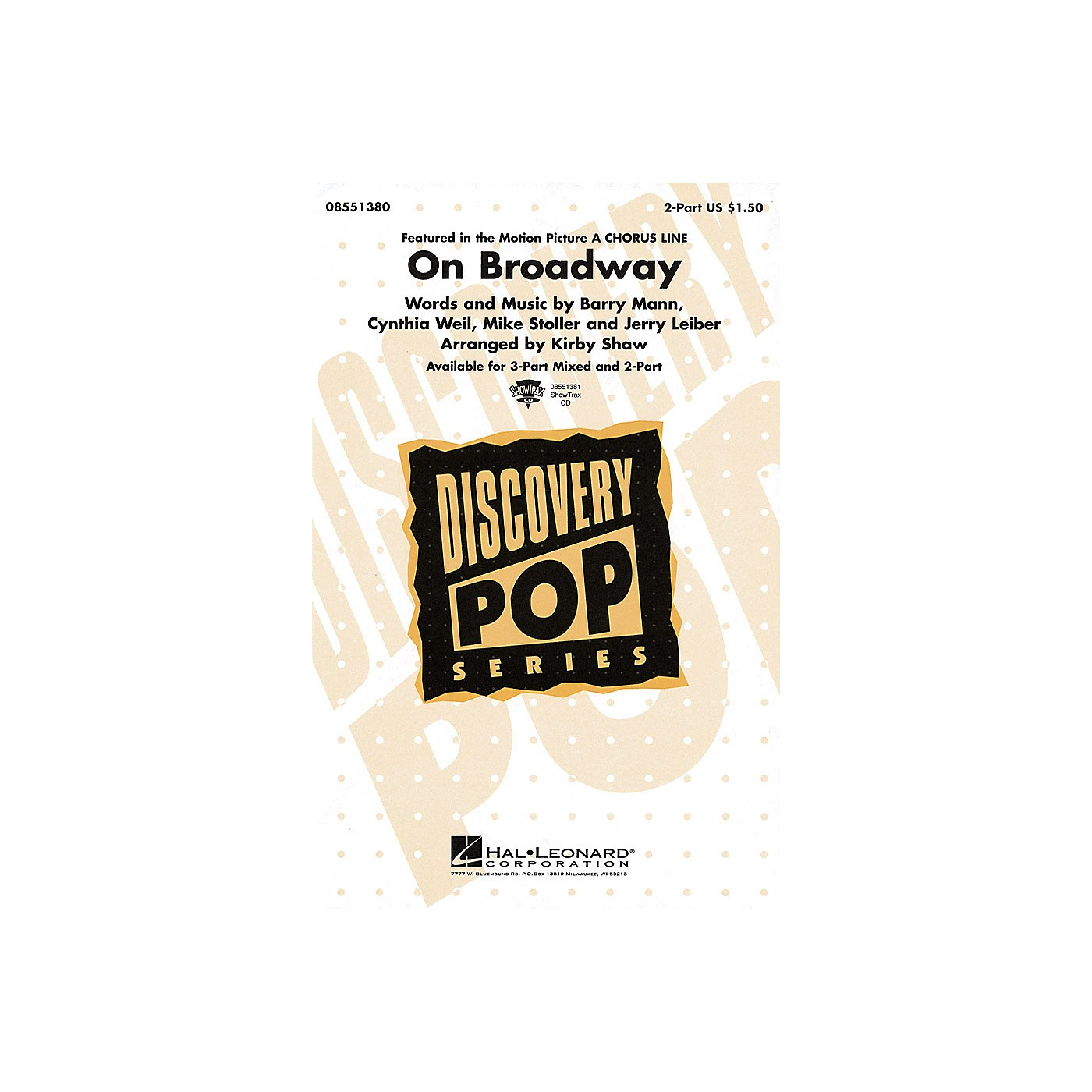 Hal Leonard On Broadway 2-Part arranged by Kirby Shaw thumbnail