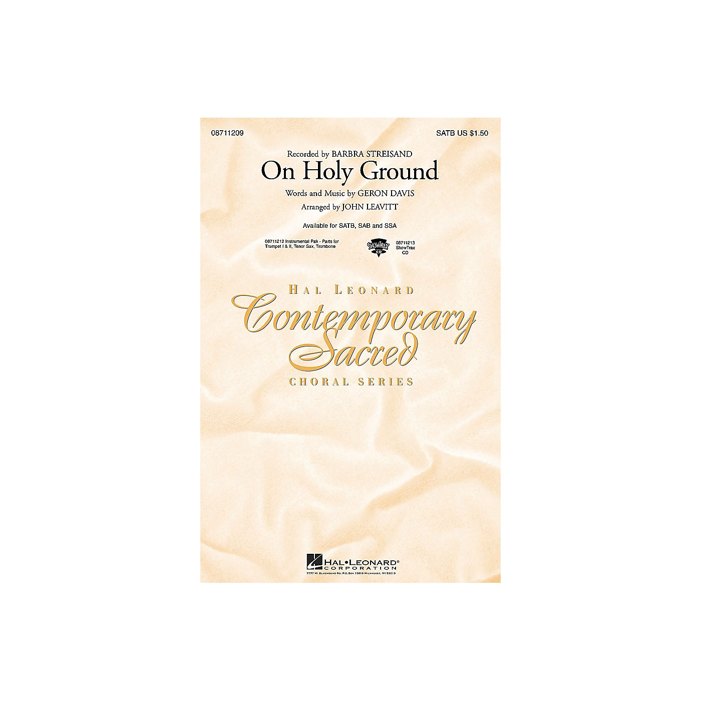 Hal Leonard On Holy Ground SATB by Barbra Streisand arranged by John Leavitt thumbnail