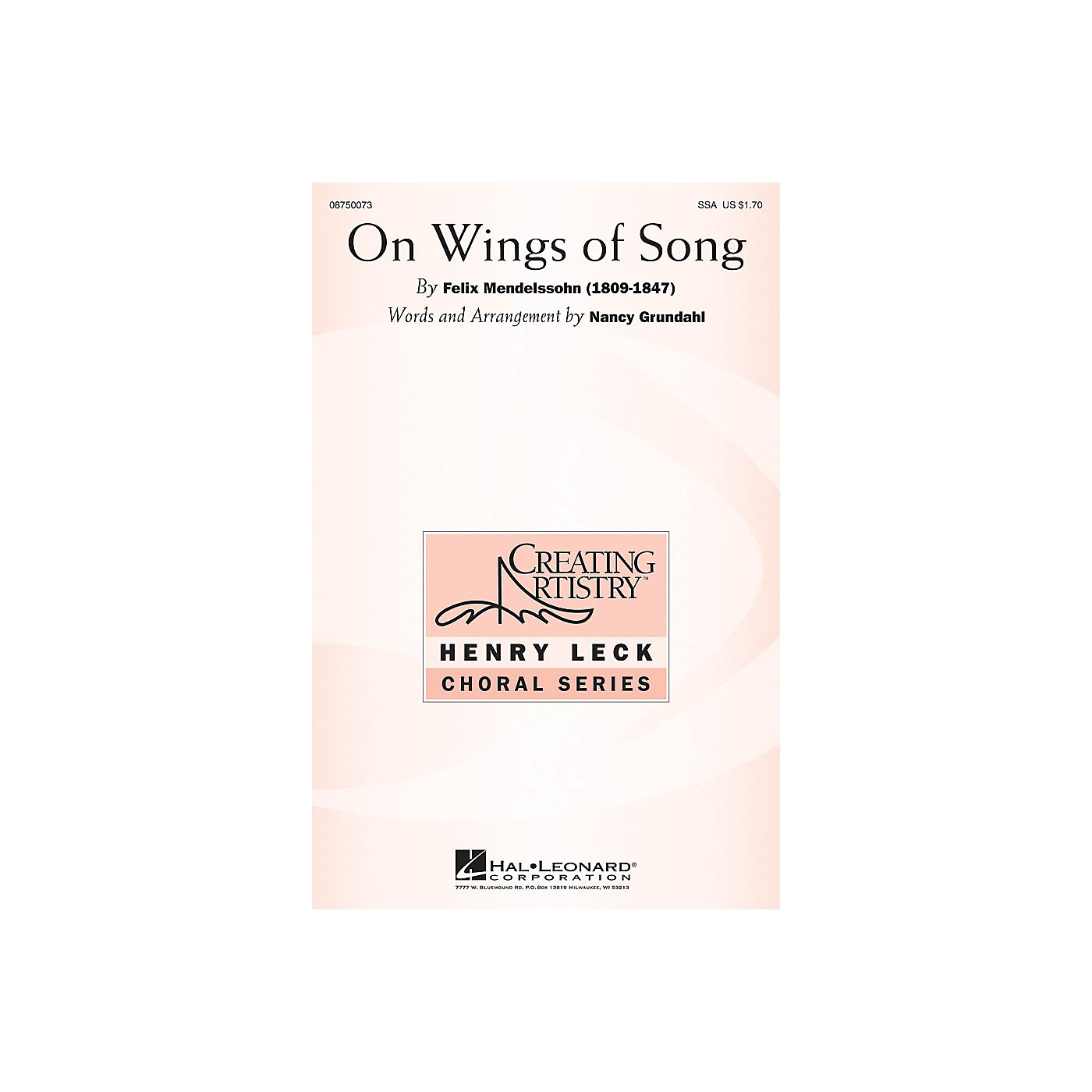 Hal Leonard On Wings of Song SSA arranged by Nancy Grundahl thumbnail