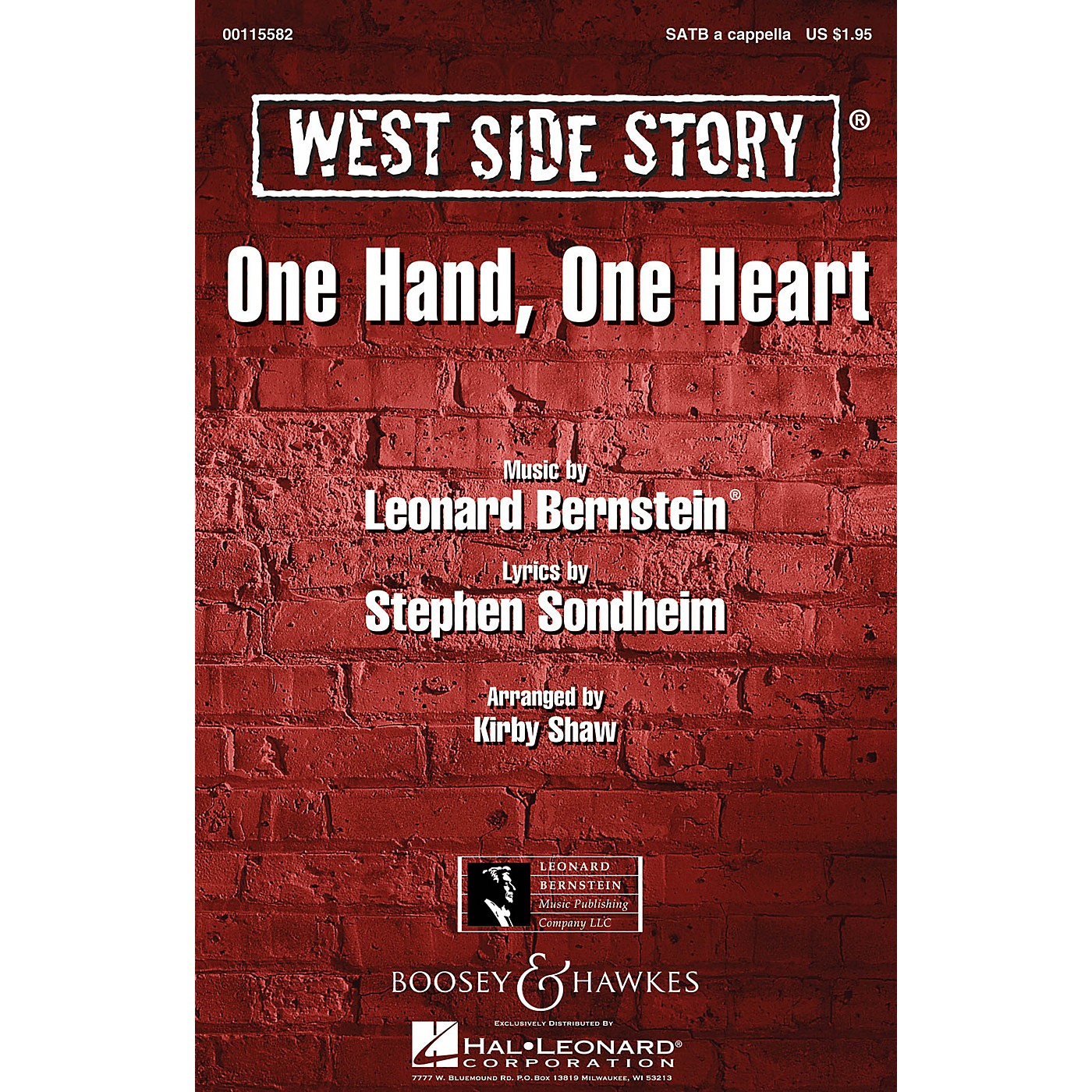 Leonard Bernstein Music One Hand, One Heart (from West Side Story) SATB a cappella Arranged by Kirby Shaw thumbnail