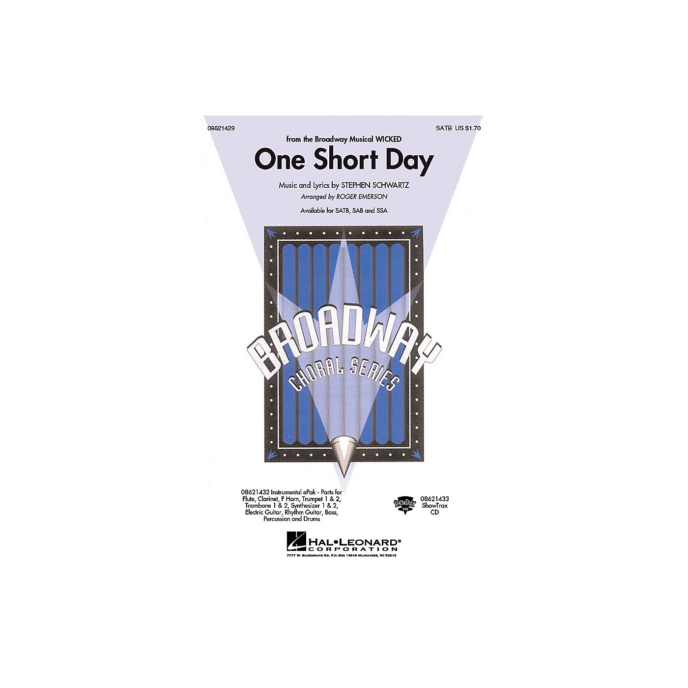 Hal Leonard One Short Day (from Wicked) SATB arranged by Roger Emerson thumbnail