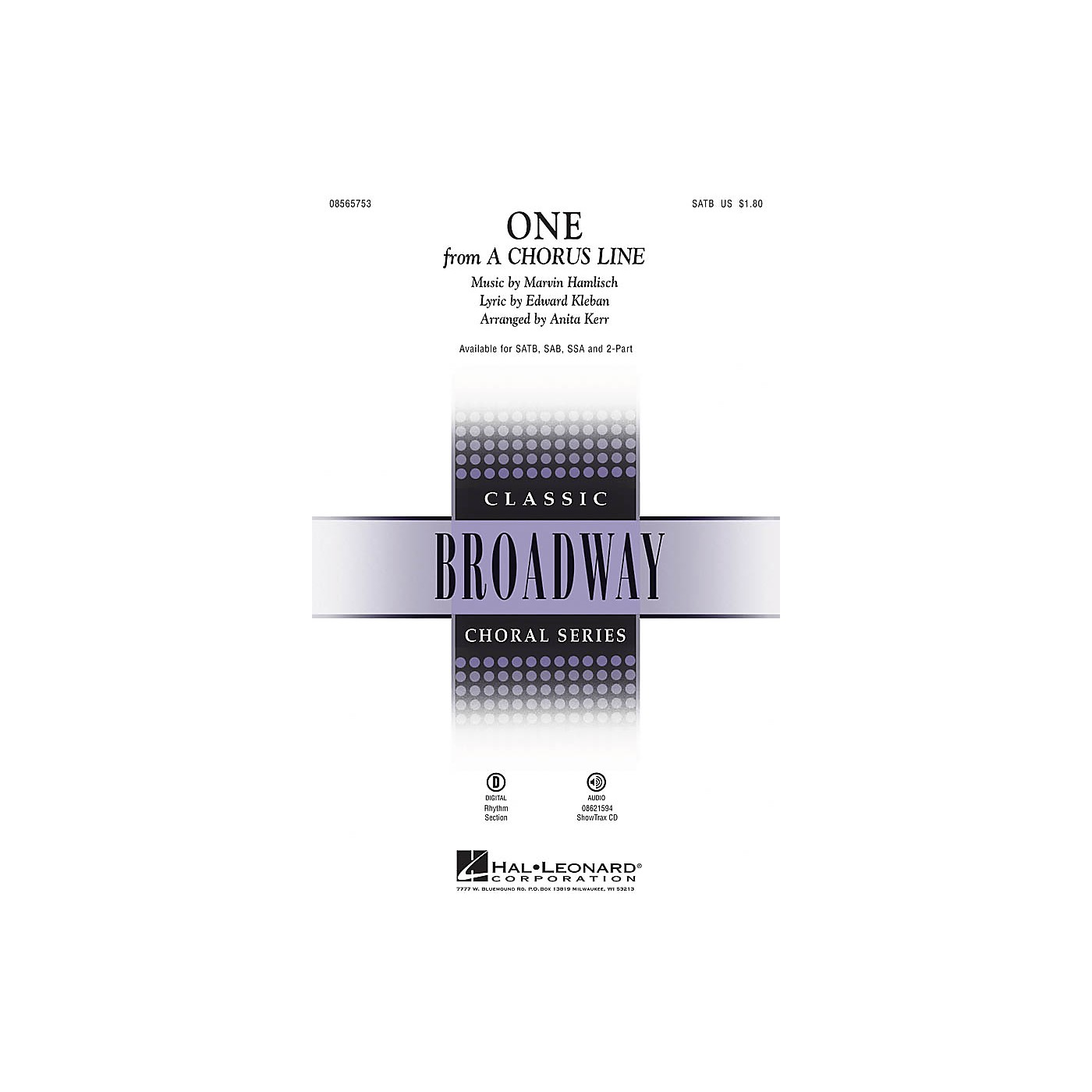 Hal Leonard One (from A Chorus Line) SAB Arranged by Anita Kerr thumbnail