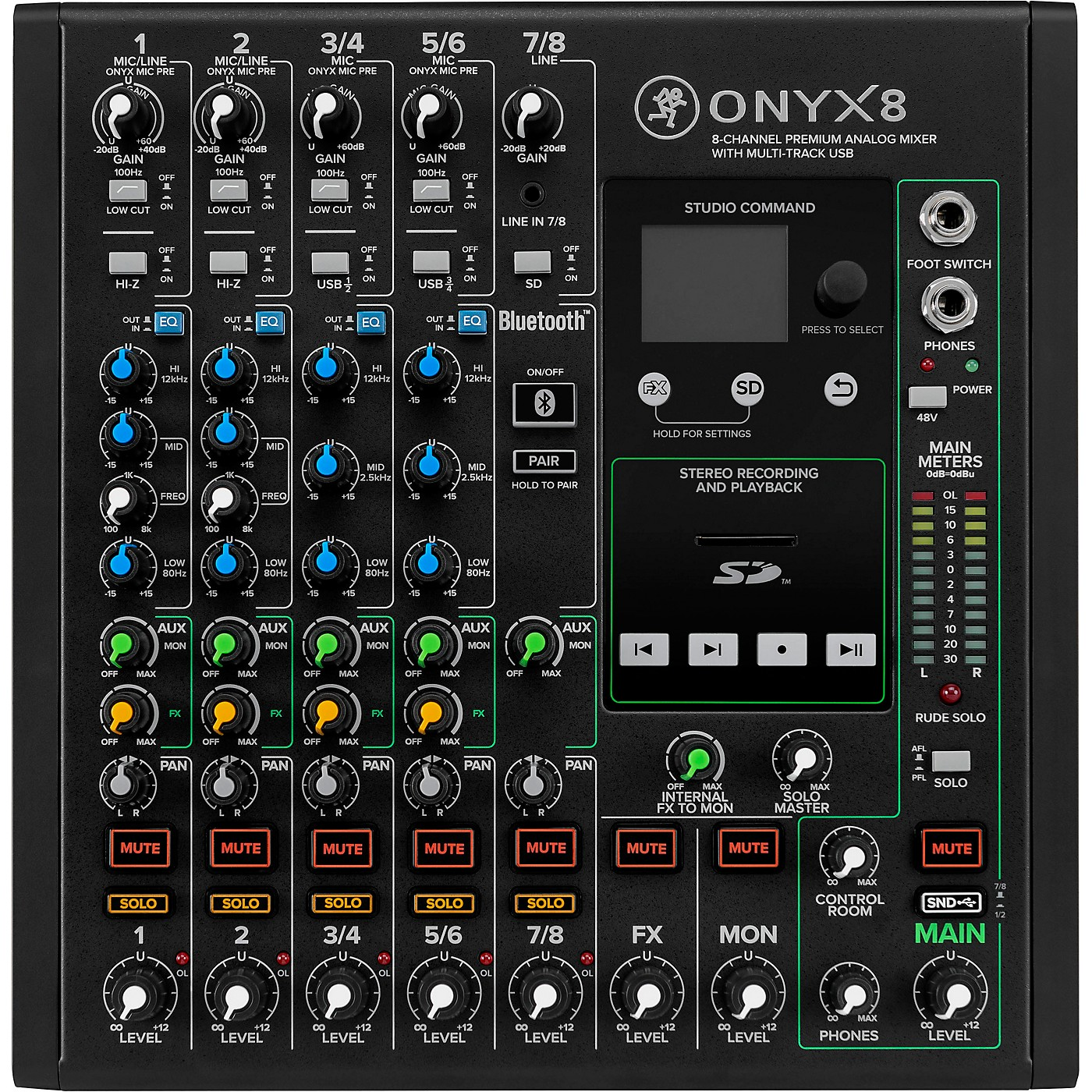 Mackie Onyx8 8-Channel Premium Analog Mixer with Multi-Track USB And Bluetooth thumbnail