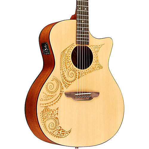 Luna Guitars Oracle Tattoo Acoustic-Electric Guitar with USB thumbnail