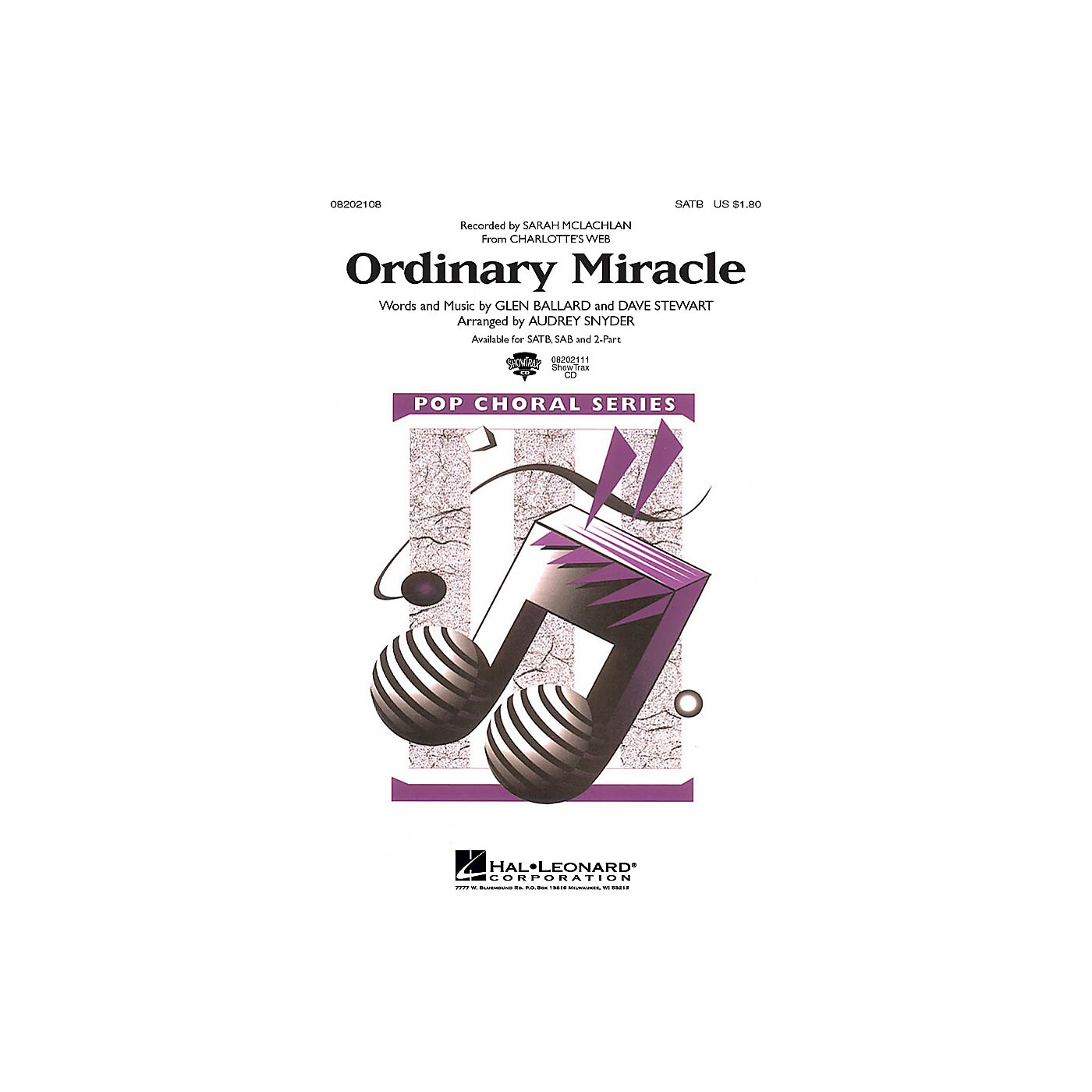 Hal Leonard Ordinary Miracle (from Charlotte's Web) SAB by Sarah McLachlan Arranged by Audrey Snyder thumbnail