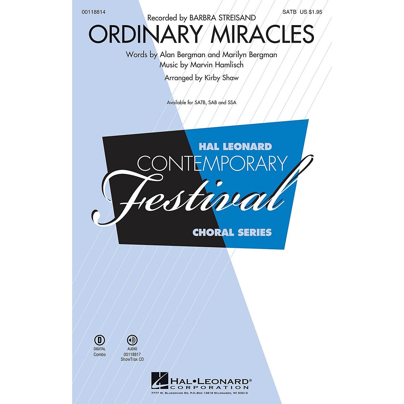 Hal Leonard Ordinary Miracles (SAB) SAB by Barbara Streisand Arranged by Kirby Shaw thumbnail