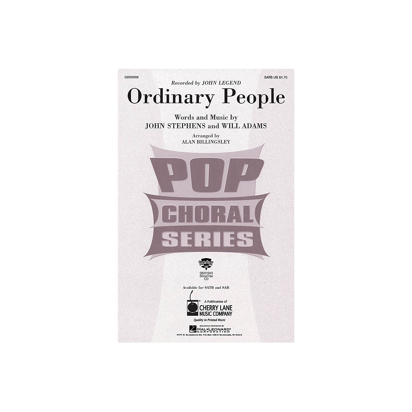 Hal Leonard Ordinary People ShowTrax CD by John Legend Arranged by Alan Billingsley thumbnail