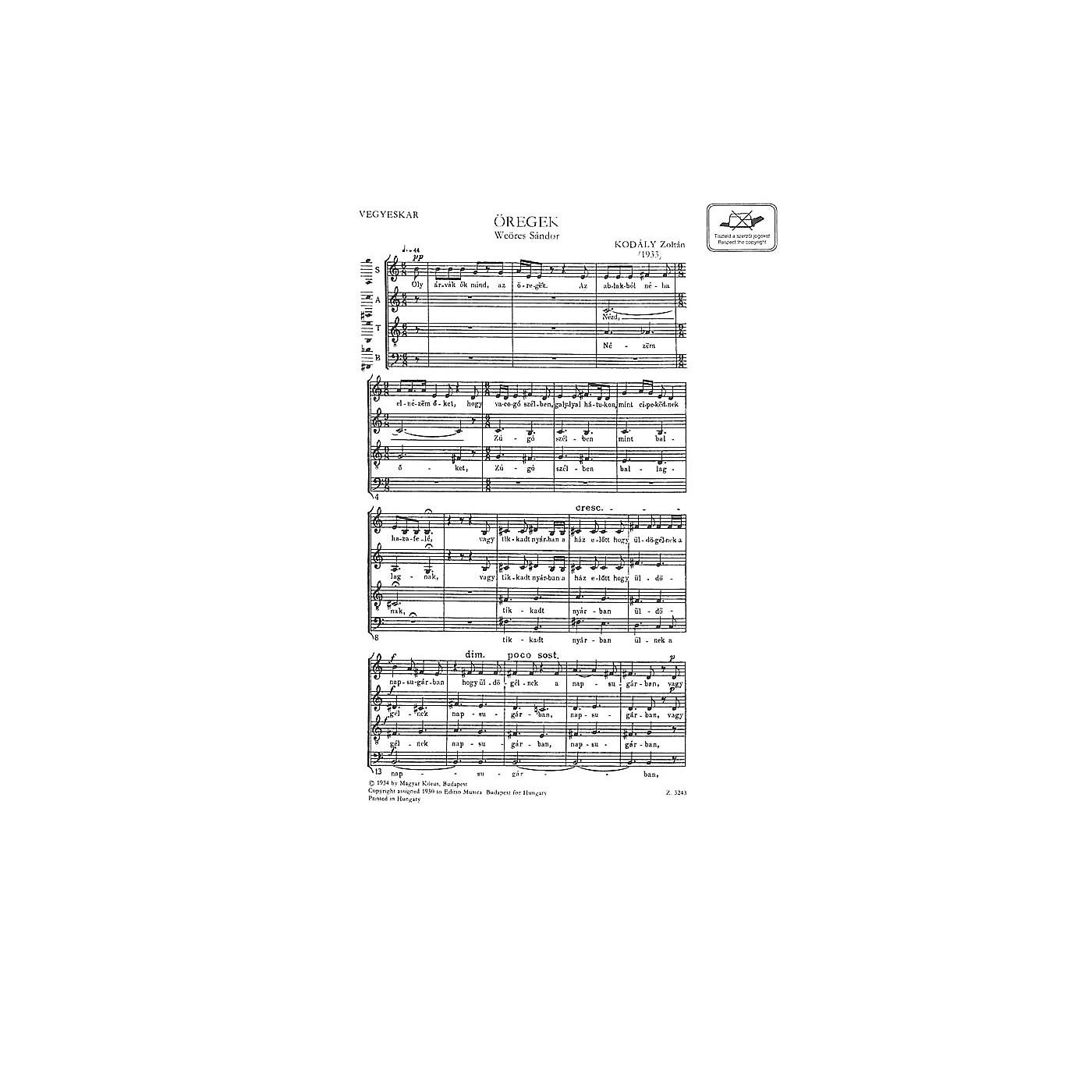Editio Musica Budapest Oregek (The Aged) SATB Composed by Zoltán Kodály thumbnail