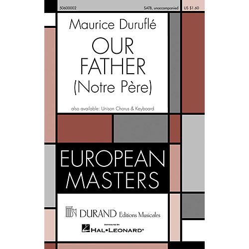 Editions Durand Our Father (Notre Pére) (SATB unaccompanied) composed by Maurice Duruflé thumbnail