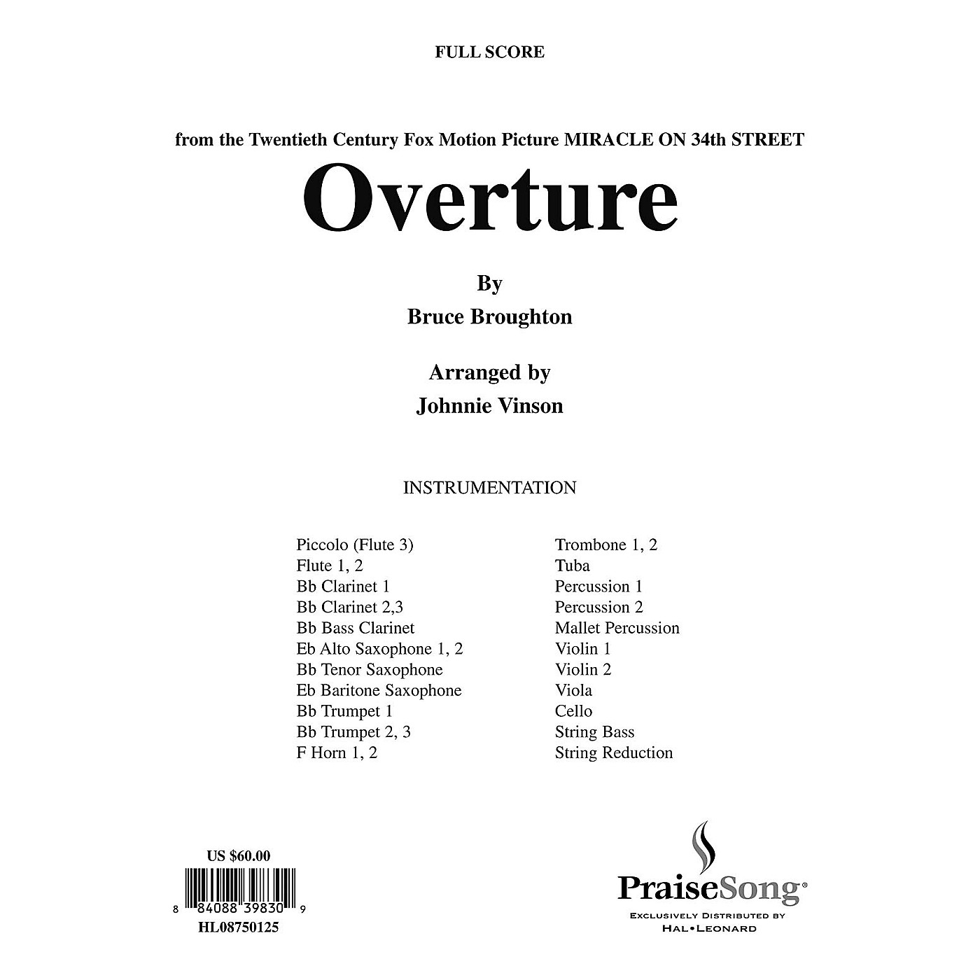 Hal Leonard Overture to Miracle on 34th Street (Church Orchestra) Score & Parts arranged by Johnnie Vinson thumbnail