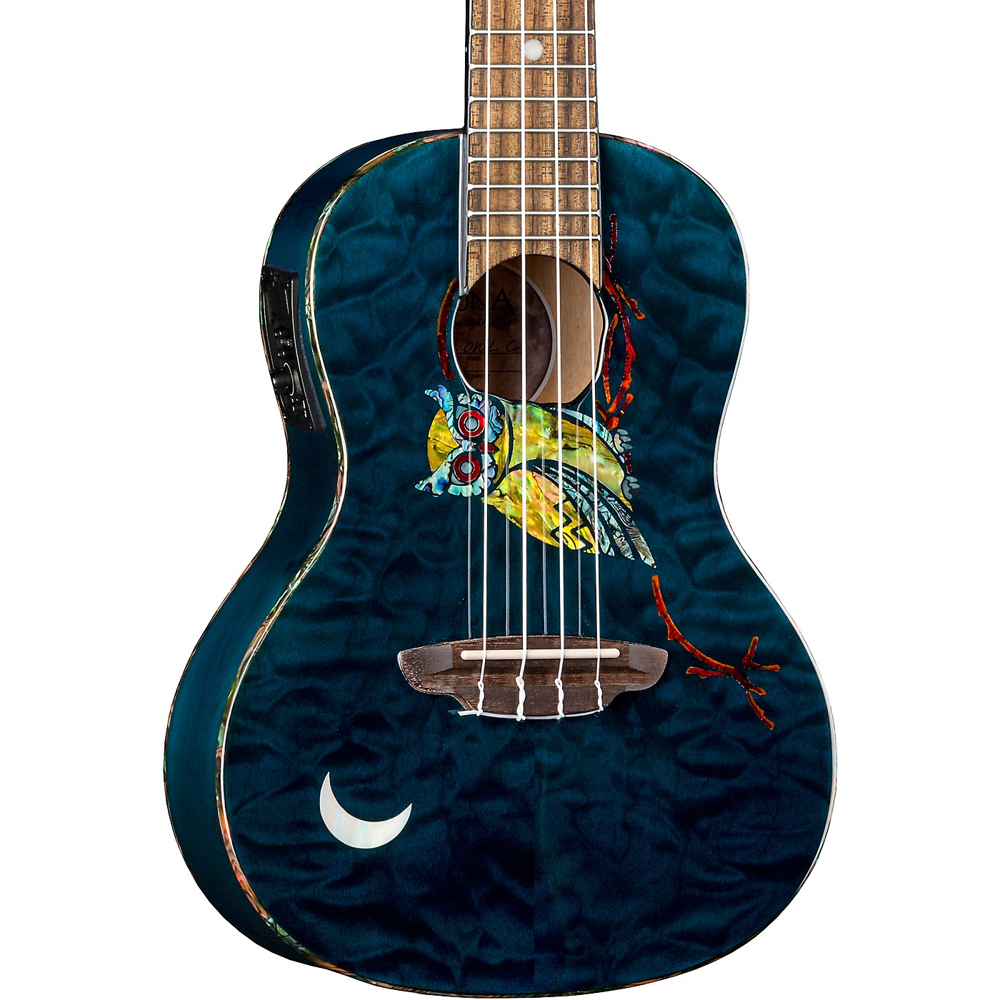 Luna Guitars Owl Quilt Top Concert Acoustic-Electric Ukulele thumbnail