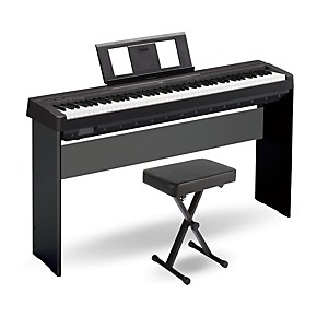 yamaha p 45 88 key weighted action digital piano black with wood stand and bench woodwind. Black Bedroom Furniture Sets. Home Design Ideas