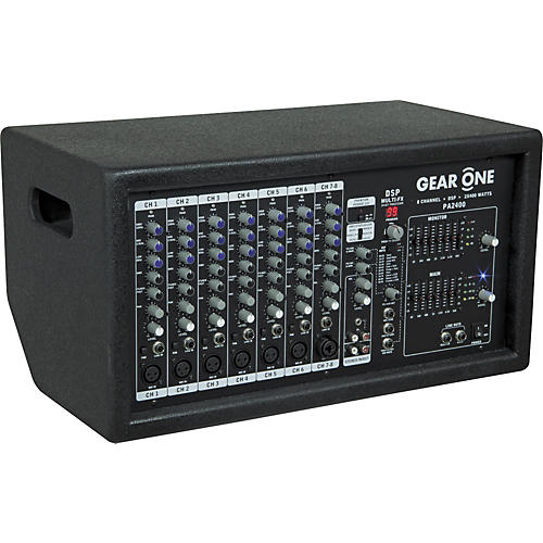 Gear One PA2400 8 Ch Powered Mixer 2 x 400 wt thumbnail