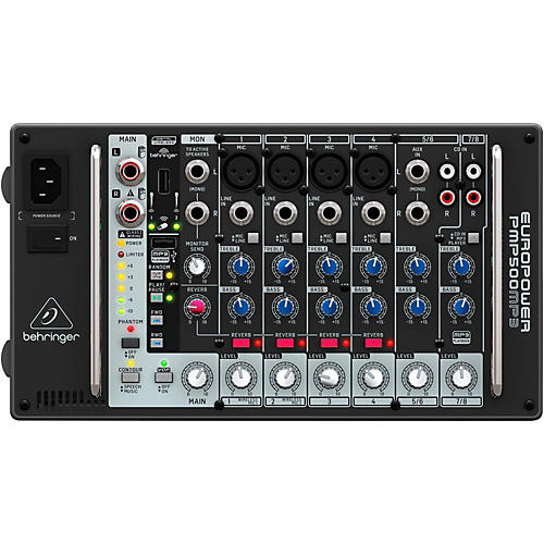 Behringer PMP500MP3 Ultra-Compact 500-Watt 8-Channel Powered Mixer with MP3 Player thumbnail
