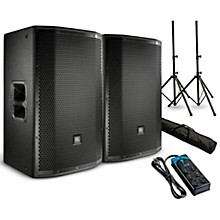 "JBL PRX812W Powered 12"" Speaker Pair with Stands and Power Strip"