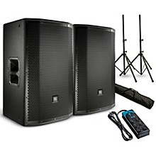 "JBL PRX815W Powered 15"" Speaker Pair with Stands and Power Strip"