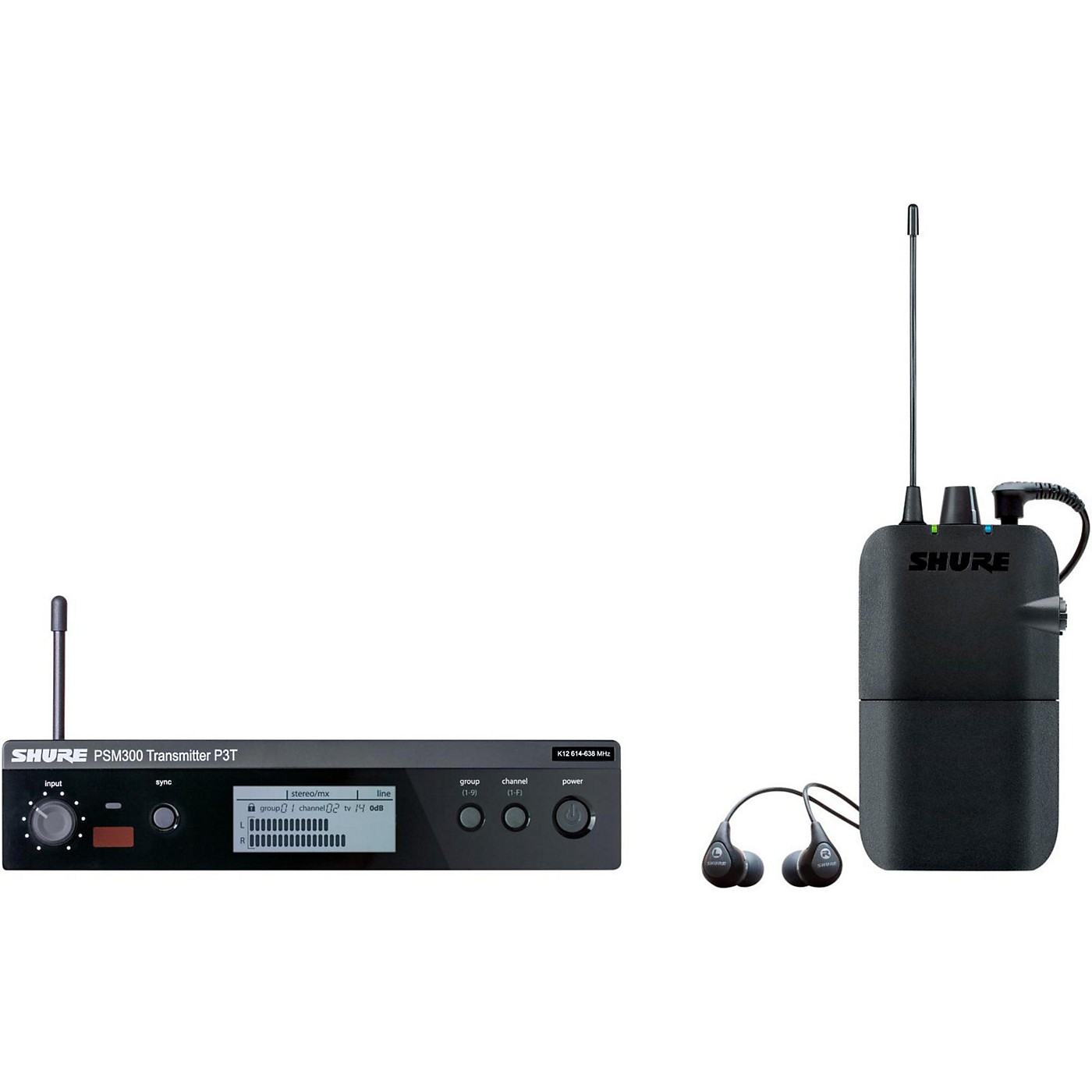 Shure PSM 300 Wireless Personal Monitoring System With SE112-GR Earphones thumbnail