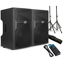 "Peavey PVXp 15 15"" Powered Speaker Pair with Stands and Power Strip"