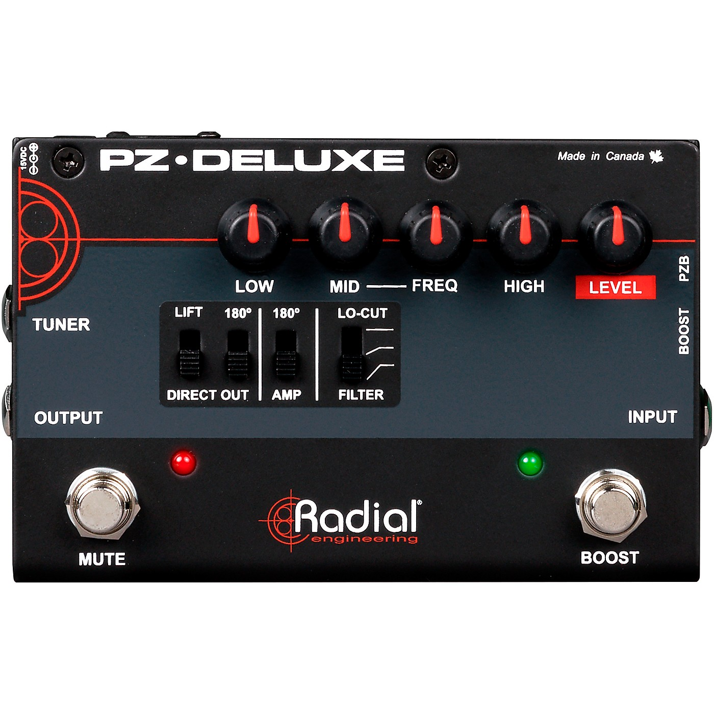 Radial Engineering PZ-Deluxe Acoustic Preamp / Direct Box Guitar Pedal thumbnail