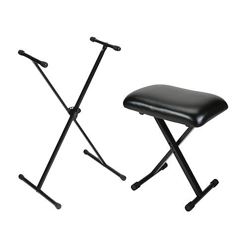 On-Stage Stands Padded Keyboard Bench With Single-Braced Stand Combo thumbnail