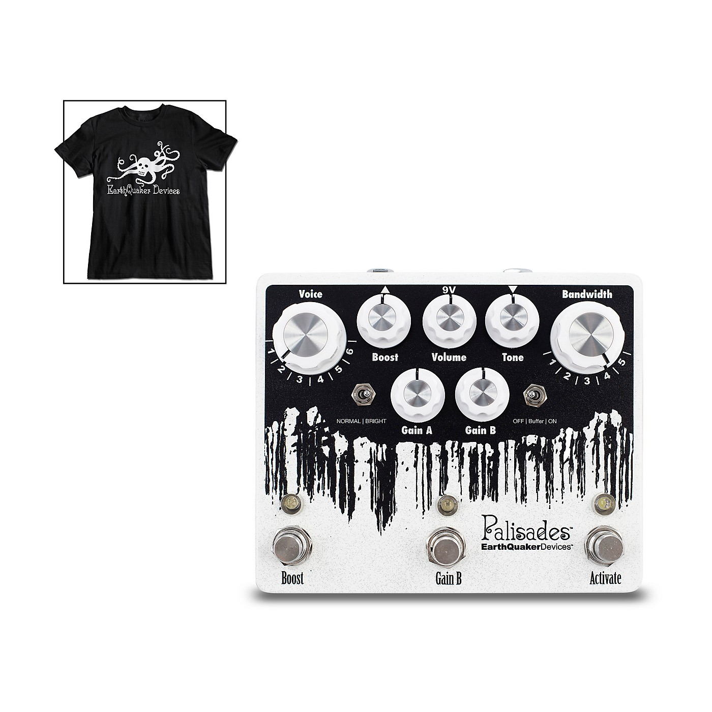 Earthquaker Devices Palisades V2 Overdrive Effects Pedal and Octoskull T-Shirt Large Black thumbnail